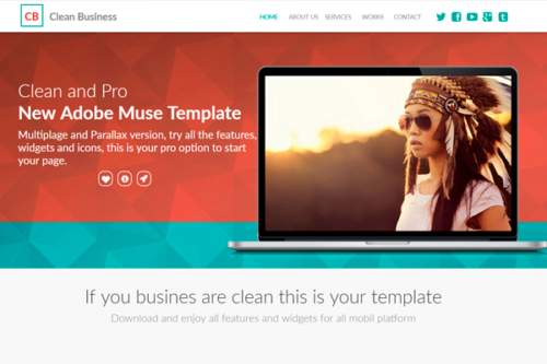 Clean Business Adobe Muse Template